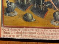 ca. 1500 - 'members of the Van Lo(c)khorst family with St. Sebastian', Geertekerk, Utrecht, Kasteel Heeswijk, Heeswijk, Bernheze, province of Noord-Brabant, Netherlands (roelipilami) Tags: 1500 1495 1505 1510 diptych tweeluik painting panel van lockhorst lokhorst geertekerk utrecht heeswijk kasteel castle chateau noord brabant netherlands pays bas nederland bernheze gothic donor opdrachtgever donateur stifter knight armor armour surcoat surcotte armure rstung harnas kneeling st tabard wrapper armet sallet hat feathers sword altar altarpiece chevalier ritter dutch renaissance northern