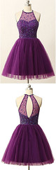 Homecoming Dress (provencelavender) Tags: sweety aline halter short purple tulle homecoming dress with beading see more at httpswwwdressthatcomsweetyalinehaltershortminisleevelesspurpletullehomecomingdresswithbeadinghtmlsthashrux8btpmdpuf