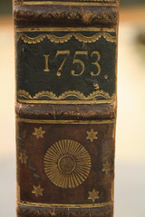 IMG_4602 (brittanycontratto) Tags: book gold 1753 18thcentury text document library rarebook writing design leatherwork leather stars flowers bookbinding print