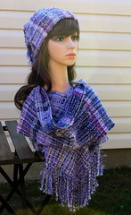 IMG_8935 (wovenflame) Tags: saori handwoven cowl hat lavender mixedwarp texture charlies an angel