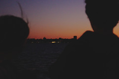 marian and sam (lhutchi2) Tags: madison wisconsin film friends sunset skyline lake shadow sillouette