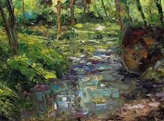 río en ocres y verdes