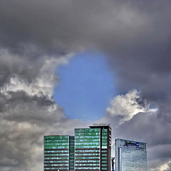 THE BLUE HOLE (Nespyxel) Tags: blue sky oslo norway clouds skyscrapers hole azure norvegia nespyxel stefanoscarselli