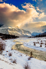 Tangle Mountain Shouded in Clouds (mdrew70) Tags: trees sky canada mountains clouds landscape nationalpark jasper 124 alberta drewmayphoto drewmayphotography tanglemountain