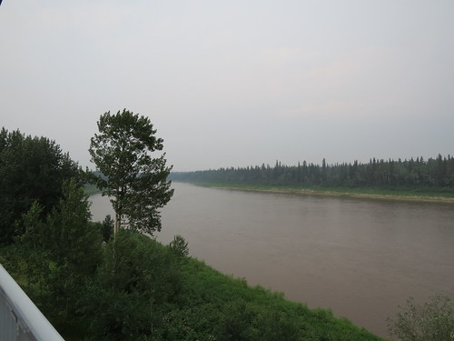 Overcast, smoky, warm evening in Hay River, NWT
