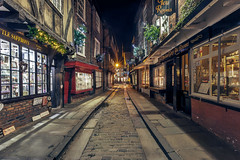Millon And Oneth (matrobinsonphoto) Tags: road christmas york xmas old city trees windows england urban cold tree english history night dark festive lights evening town long exposure darkness yorkshire north historic lane shambles olde