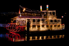 C178561E7 - 2014 DBYC Lighted Boat Parade Winner (Bob f1.4) Tags: california ca red water wheel club night lights bay boat yacht paddle parade discovery steamer decorated lighted 2014