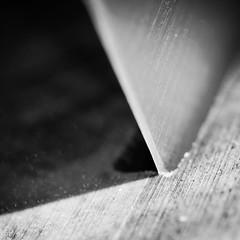 New Steel (Ben Wightman) Tags: new wood blackandwhite macro metal square steel angles sharp blade chefsknives macromondays