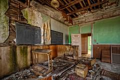 School's Out (Frank C. Grace (Trig Photography)) Tags: school abandoned church boston unitedstates decay massachusetts exploring monastery blackboard urbex