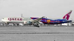 A7-BAE (cegoyer) Tags: barcelona airplane photography airport montreal aviation off landing international take airways fc spotting qatar yul spotter boieng qatari 777300er cyul b77w a7bae qtr763 dohyul