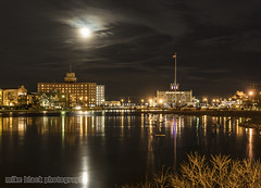 Moonrise over Sunset Lake Asbury Park NJ (Mike Black photography) Tags: from park new blue sunset red sky moon white lake black reflection green ice beach night canon lens hotel mirror berkeley hall frozen is theater sandy bruce iii january nj ii moonrise shore convention jersey l asbury 5d 24 greetings usm 70 mk springsteen paramount 2015 2470