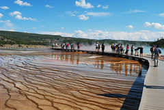 Grand Prismatic Spring Boardwalk (mike_jacobson1616) Tags: park nature pool wonder outdoors fire nationalpark spring scenery colorful natural scenic icon basin springs yellowstonenationalpark yellowstone features wyoming geyser visitors iconic geothermal eruption geysers grandprismaticspring grandprismatic midwaygeyserbasin viewfromthehill prismaticspring