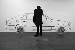 I like my car (elisachris) Tags: auto blackandwhite bw art car museum kunst ricohgr hamburgerbahnhof schwarzweis
