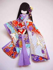 Japanese origami doll 4 (tengds) Tags: blue red white birds asian japanese purple lavender kimono obi origamipaper bindi papercraft japanesepaper washi ningyo furisode handmadepaper chiyogami asiandoll flyingbirds yuzenwashi japanesepaperdoll indianbindi washidoll origamidoll tengds