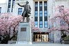 Vancouver City Hall (gerry.bates) Tags: pink flowers trees canada statue vancouver 1936 canon cherry spring flora exterior bc cityhall britishcolumbia blossoms artdeco 12thavenue cambiestreet prunus ornamentalcherry georgevancouver prunusaccolade accoladecherry townleymathesonarchitects