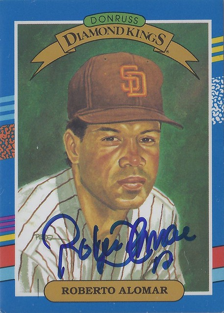 1991 Donruss / Diamond Kings - Roberto Robbie Alomar #12 (Second Baseman) (Hall of Fame 2011) - Autographed Baseball Card (San Diego Padres)