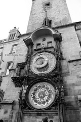 Astronomical Clock (Stationary Nomads) Tags: old city bw white black building art clock face architecture square europe mechanical czech prague capital praha clocktower czechrepublic townhall vltava oldtownsquare astronomicalclock amenaamer