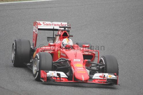 Sebastian Vettel in the Ferrari in Formula One Winter Testing 2015