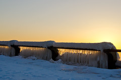 Icy Railing (JeffStewartPhotos) Tags: morning winter toronto ontario canada cold ice sunrise icy wintertime thebeach thebeaches walkingwithdavidw