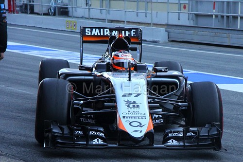 Nico Hulkenberg in his Force India in Formula One Winter Testing 2015