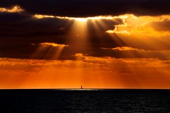 lonely sailboat at sunset - Tel-Aviv beach (Lior. L) Tags: lonelysailboatatsunsettelavivbeach lonely sailboat sunset telaviv beach silhouettes nature travel creation spotlight clouds sky minimalism