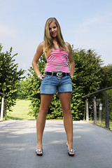 Missy 01 (The Booted Cat) Tags: sexy candid blonde girl demin jeans hotpants legs heels highheels