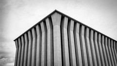 Ventech Monolith (DarlingJack) Tags: blackandwhite bw abstract building geometric architecture moody columns architectural diagonal infrastructure monolith t3i ventech architecturalabstract pasadenatexas canont3i