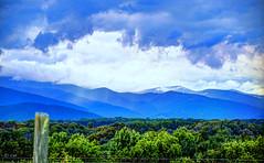 Blue Ridge Storms (creepingvinesimages) Tags: blue green colors fence outdoors virginia nikon blueridgemountains topaz thunderstorms adjust greenecounty hff d7000 sigma18250mm pse14