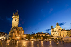 20160715_F0001: Prague old town square at dusk (wfxue) Tags: old longexposure windows sky people moon house building history clock tourism architecture clouds square stars town czech prague dusk tent tourists structure historical oldtownsquare astronomicalclock staromstsknmst praskorloj