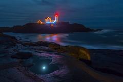 Fallen Moon  (kaising_fung) Tags: sea lighthouse night