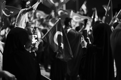 Two woman (drclerk) Tags: bw turkey square democracy crowd streetphotography istanbul victory celebration muslims taksim photooftheday
