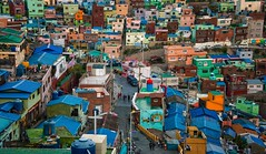 Gamcheon, Busan, South Korea - 2014 (Ronald_Nelson_Photography) Tags: houses colors architecture alley mural busan hillside southkorea crowded republicofkorea gamcheon