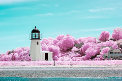 IR Lighthouse 3 (Brian M Hale) Tags: ocean ri pink light red sea lighthouse house color colour ir island sailing brian newengland atlantic boating infrared rhode infra hale false brianhalephoto