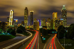 Downtown Atlanta. August 2016 (tarell_sallie) Tags: atlanta georgia usa unitedstates america fulton fultoncounty dekalb dekalbcounty walkingdead thewalkingdead skyscrapers traffictrails cartrails dirtysouth thesouth highway urban landscape exposure longexposure slowexposure exit southern highrise atlantabraves atlantafalcons cars buses trucks scenery
