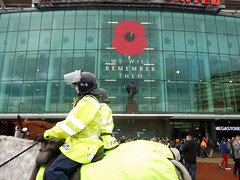 Old Trafford - Man Utd v Palace (Paul-M-Wright) Tags: old november horse manchester football crystal stadium united saturday police palace v poppy poppies match remembrance trafford premier league 08 2014