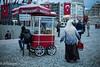 (delikizinyeri) Tags: red people food woman stairs turkey walking market istanbul flags cart taksim simitci