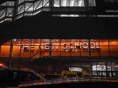 The New School (wwward0) Tags: nyc newyork window sign night unitedstates outdoor manhattan illuminated cc newschool wwward0