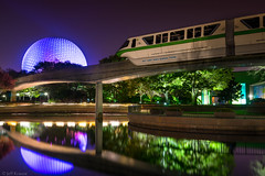 Epcot - Monorail Green (Jeff Krause Photography) Tags: park reflection water night orlando epcot unitedstates florida disney transportation theme monorail wdw hdr spaceshipearth sse fav25