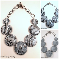 Snakeskin Mokume Disc Collage (Charleston Clay Studios) Tags: silver necklace jewelry chain charleston clay handcrafted earrings snakeskin polymer mokume