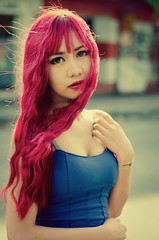 Pula (kiml_photos) Tags: light red portrait woman sun color girl backlight hair photography 50mm eyes mood atmosphere curl 18