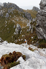 20150205-051-Hikers descending Mount Hayes (Roger T Wong) Tags: trek outdoors nationalpark walk australia hike valley tasmania np bushwalk quartzite tramp wha 2015 southwestnationalpark westernarthurs canonef24105mmf4lisusm worldheritagearea mounthayes canon24105 canoneos6d westernarthurrange rogertwong