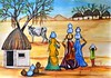 _DSC0693.jpgmanthan2 mod size (artbymanjiri) Tags: blue ladies red sky india mountain girl rural cow milk village huts pots tre figures rajasthan gujrat