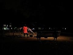 Rot (michaphot) Tags: park red woman berlin statue lady night kreuzberg germany dark goats hohenstaufenplatz zickenplatz