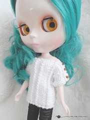 Hand knit crisp rectangle tee for Blythe