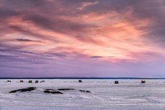Sunset with Ice Huts (Chaos2k) Tags: sunset lake ontario canada ice clouds icefishing icehuts northbay 2015 iceshack canon5dmarkii brianboudreau canon7020028isii