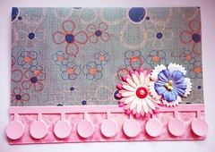 All-purpose handmade card 66 (tengds) Tags: pink flowers blue white card papercraft paperflowers handmadecard thaipaper tengds japanesecardstock allpurposecard