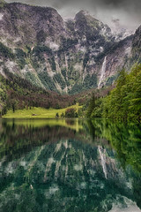 Obersee (Nigel Jones QGPP) Tags: trees lake mountains alps reflection water germany bavaria austria waterfall deep obersee berchtesgarden