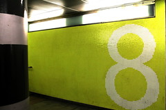 Platform 8 (The Relevant Authorities) Tags: green london station underpass subway typography mosaic 8 number trainstation lime eight stratford tiling