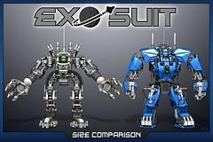 21a Exo-Suit Size Comparison (IK) Tags: lego space suit walker scifi mech ldd exosuit
