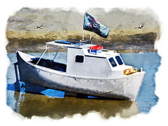 Time & Tide (Steve Taylor (Photography)) Tags: blue red newzealand brown white bird art window water digital boat rust ship flag seagull gull tide border nelson pirate nz southisland propeller vignette propellor rudder marooned